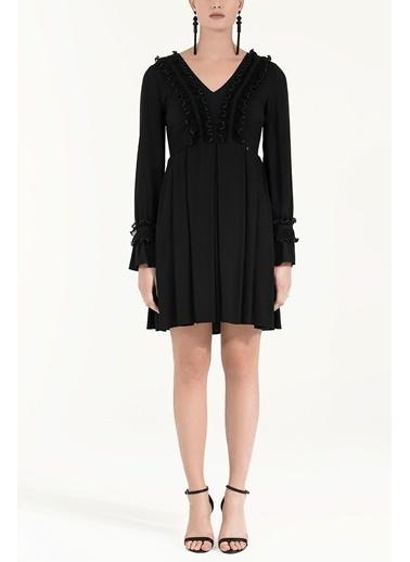 Societa Dantel Aksesuarlı Elbise 92010 Siyah